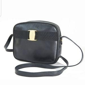 Ferragamo black leather handbag